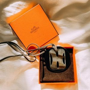 Hermes Horn and Lacquer Necklace Pendant Wood